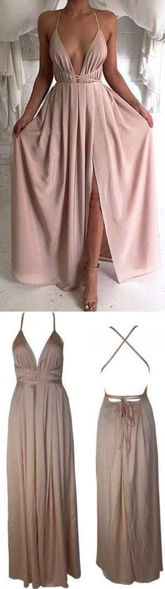 Blush Pink Evening Gowns,Sexy Formal Dresses,Chiffon Prom Dresses,2016 Fashion Evening Gown,Sexy Evening Dress