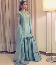 Buy Gray Color Sharara Suit by Akanksha Singh at Fresh Look Fashion Pakistani Fashion Party Wear, Pakistani Wedding Outfits, Indian Fashion Dresses, Pakistani Bridal Dresses, Pakistani Dress Design, Indian Designer Outfits, Wedding Hijab, Indian Gowns, Indian Suits