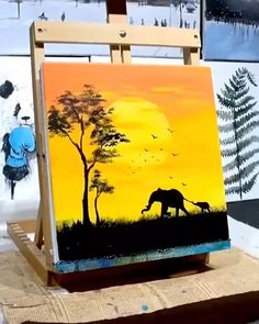 Easy Canvas Art, Simple Canvas Paintings, Small Canvas Art, Diy Canvas, Drawing On Canvas, Easy Wall Art, Easy Acrylic Paintings, Cute Easy Paintings, Oil Pastel Paintings