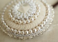 White beads and sequins