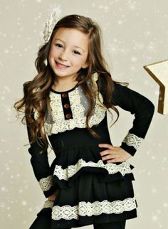 50546b0674724a Full of sweet details this Black Harper Peplum and Lace Top for toddler and  little girls