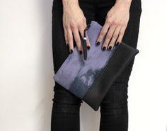 hand dyed #shibori #clutch, tie dye #purse, violet handbag with #tassel