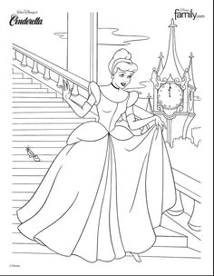 Disney Princess Cinderella at the Ball colouring in page download printable page from DisneyFamily.com
