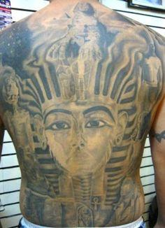 Egyptian themed full backpiece tattoo
