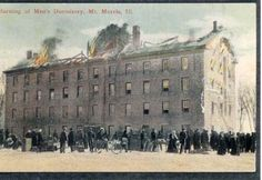Mount Morris College, IL; fire destroys old main in 1912