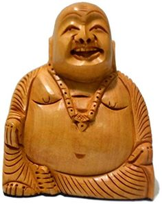 CraftVatika Sale Wood Happy Laughing Buddha Statue  Hand Carved Chinese Sculpture Antique Carving Kwan boxwood handwork  Thai Buddha decor  Gift for Him Her *** Find out more about the great product at the image link.