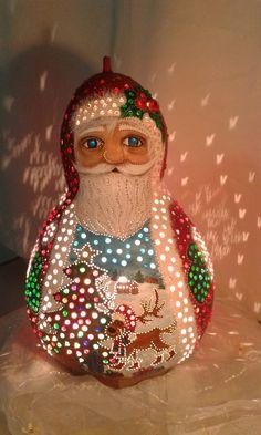 ebru sanatı ( marbling art ) by mai hatti gourd lamp Santa Claus..125 £