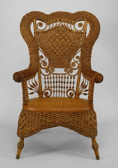 19th c. Whitney Reed High Back Wicker Armchair