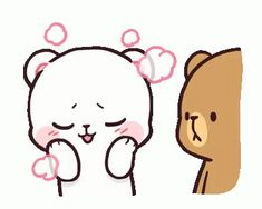LINE Official Stickers - Milk & Mocha: Unstoppable Lovers Example with GIF Animation Cute Cartoon Pictures, Cute Couple Cartoon, Cute Love Cartoons, Cartoon Ideas, Cute Bear Drawings, Kawaii Drawings, Cute Love Gif, Cute Cat Gif, Calin Couple