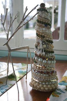 Vintage jewelry Christmas tree centerpeice-- $75