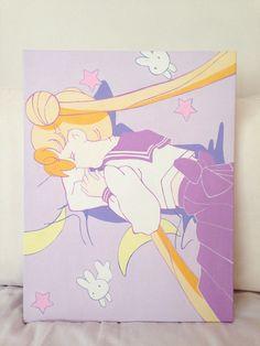 sailor moon acrylic on canvas by Yu | via tumblr  http://dearninety.bigcartel.com/product/sleeping-sailor-moon