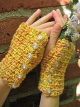 Sunset Pebbles Crocheted Wrist Warmers - Top View