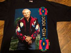 Vintage George Jones High Tech Redneck Tour Country Music T-Shirt Sz L Free ship