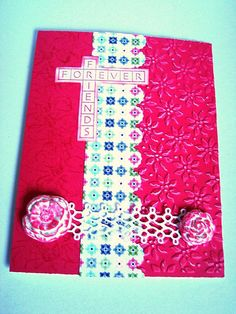 Fuchsia Roses Lace Pink Friendship Friends Forever hand by Wcards, $3.25