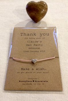 Hen Party Thank You Wish Bracelet Friend by Bunnyfacebracelets
