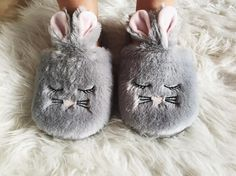 These mule slippers made from soft fluffy material and have a bunny face on the front.   #cute #soft #warm #cosy #rabbit #fluffy #hunkemöller #slippers #musthave @_isabelrosa__