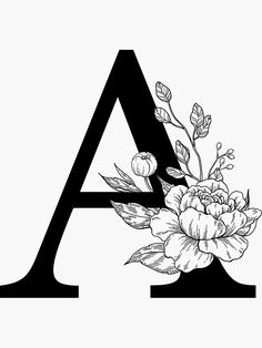 """""""A Botanical Monogram. Detailed Peony Drawing"""" Stickers by epine Ink Pen Drawings, Art Drawings Sketches, Lettering Styles, Lettering Design, Hand Embroidery Designs, Embroidery Patterns, Peony Drawing, Alphabet Art, Alphabet Letters Design"""