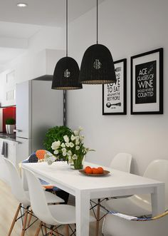 Lamp And Lighting Cool With Black Chandelier Cover And White Table Set,white Wall,white Ceiling,wall Decorating Modern Cool Light Fixures Design Interior Design Modern Cool Light Fixures Design Scandinavian Lamps, Scandinavian Apartment, Interior Design Kitchen, Modern Interior Design, Modern Decor, Kitchen Dinning, Beautiful Kitchens, White Walls, White Ceiling