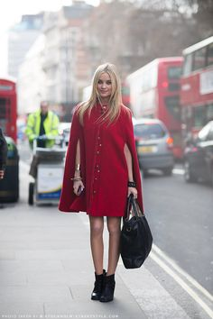 red cape will do it. superwoman style. #LauraWhitmore in London. #StockholmStreetStyle