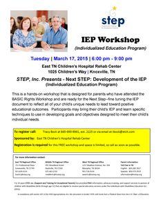 March 17, 2015: STEP, Inc. Presents - Next STEP: Development of the IEP (Individualized Education Program)