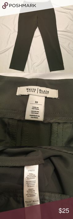 "{White House Black Market} ankle pants Great olive colored {White House Black Market} ankle pants. Plain front, two small back pockets. Waist is 35 1/2"", length is 26 1/2"", front rise 9 1/2"", rear rise is 16 1/2"". Great condition! White House Black Market Pants Ankle & Cropped"