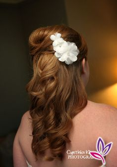Half up wavy with volume and flower clip. Jewel Hair Design: Julie Flury  Photographer: Cynthia Kirsch    KZBV_0068