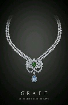 Diamond Necklace Graff Diamonds: Le Collier Bleu de Rêve Featuring a internally flawless, natural vivid blue diamond and a carat old mine emerald. Diamond cttw and Emerald cttw - Graff Jewelry, Gems Jewelry, High Jewelry, Diamond Jewelry, Diamond Necklaces, Jewellery, Emerald Necklace, Emerald Rings, Ruby Rings