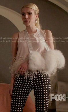 Chanel's checked trousers and feather trim top on Scream Queens. Outfit Details: http://wornontv.net/54532/ #ScreamQueens
