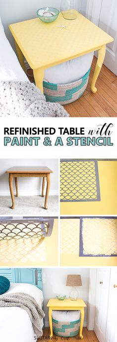 Completely transform the look of a side table with some paint and a stencil to create a subtle fish scale pattern for a fun beach-style furniture piece.