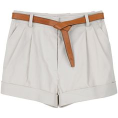 3.1 Phillip Lim Cuffed Short w Knot Belt ($113) ❤ liked on Polyvore