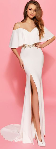 Amazing Acetate Satin Spaghetti Straps Sheath Wedding Dresses With Slit