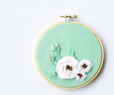 Mint vintage fabric embroidery hoop / white flower home decor / green fresh sweet gift / 4 inch size on Etsy, $32.00