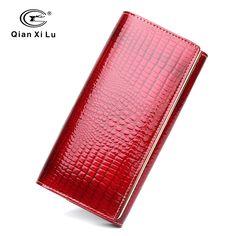 Qianxilu Brand Fashion Alligator Womens Wallets and Purses Patent Genuine Leather,Ladies Leather wallets -- Vy mozhete uznat' boleye podrobnuyu informatsiyu po ssylke izobrazheniya.