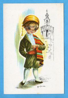 Vintage big eye post card 70s by Gallarda. Well dressed boy from Valencia Spain.