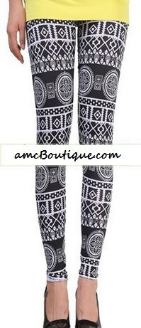 LOVE these Black Tribal Leggings paired with a bright shirt! So comfy and cute!
