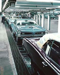 66 Pontiac GTOs on the assembly line