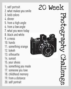#Photography Challenge Ideas ... the better you are, the better your business will be.  Even if photography is a hobby for you, you never know when your passion will spark a career change.  #practice  #photographer