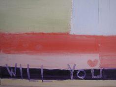 Proposal giftoil painting 16x16 inchminimal art work by cheerlart