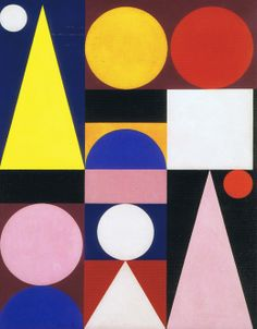 Auguste Herbin (1882-1960) inventa un alfabeto personale per cui a ogni lettera corrisponde una forma e colore
