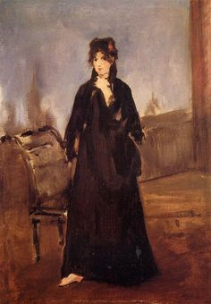 Portrait of Berthe Morisot in pink shoes, by Edouard Manet #Manet