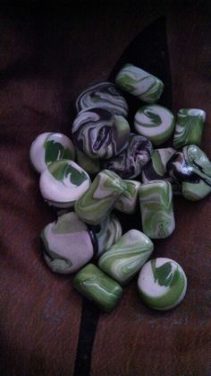 Green white n black hand made polymer clay beads