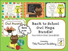 This 172 page mega bundle includes four of my owl theme packs at a discounted rate of $11.00!
