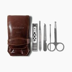 The Shears, five-piece Manscaping Nail Kit, manufactured from highly durable, tempered stainless steel, designed to handle the most demanding of mens nail care! Cute Summer Nail Designs, Cute Summer Nails, Mens Nails, Stainless Steel Nails, Manicure Set, Men's Grooming, Toiletry Bag, Nail Care, Deodorant