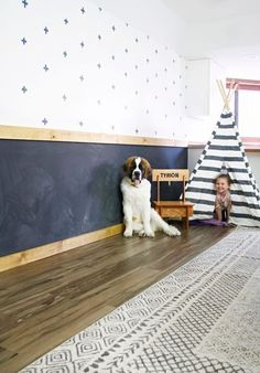 Making chalkboard wall is such a fun addition to any space, but none more so than a playroom! This is one of my favorite diy chalkboard wall ideas because the little ones have so much fun with it! #chalkboardwall #playroom Chalkboard Wall Playroom, Make A Chalkboard, Playroom Wall Decor, Modern Playroom, Toddler Playroom, Chalk Wall, Playroom Furniture, Baby Room Decor, Playroom Ideas