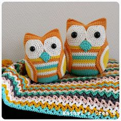 Uilen.  Patroon, www.matawisfavorites.nl Owls. Pattern available on Ravelry (Matawi's  Crea's)