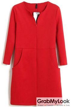 GrabMyLook Red Long Sleeves V Neck Split Formal Office Dress