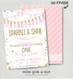Pink and gold 1st birthday invitation girl any age pink gold heart sparkle and shine birthday party invitation printable pink and gold invite blush pink gold glitter tassel 1st first confetti garland filmwisefo