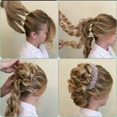 Four ponytail base wrapped Mohawk with hair piece on the side - Frisur ideen - Fancy Hairstyles, Braided Hairstyles, Easy Wedding Hairstyles, Hairstyle Ideas, Long Hair Updos, Hairstyle Wedding, Long Braids, Hairstyles To The Side, Child Hairstyles