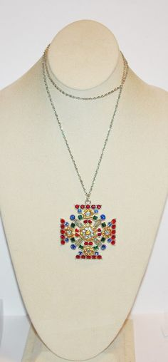 Joan Rivers #Crystal #Maltese #Cross Necklace Silver Tone = #joanriversjewelry  This beautiful silver tone necklace is signed by Joan Rivers.  The pendant is in the shape of a... #collectible #signed #necklace #vintage #maltese #cross #silver #jewelry #crystals #gift