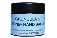 Calendula & Honey Hand Balm - a softening and moisturising balm for dry skin particularly for hands but can be used on any other areas of dry skin.A blend of Coconut oil,Sweet almond oil and Honey to soften and moisturise dry skin. Calendula oil and Shea butter are healing,moisturising and soothing for dry skin. A blend of essential oils with Lavender and Benzoin for their soothing and healing properties, Eucalyptus has antiseptic and anti-inflammatory properties and Tea tree